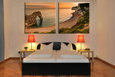 2 piece canvas wall art, bedroom huge canvas art, ocean large pictures, orange ocean multi panel canvas