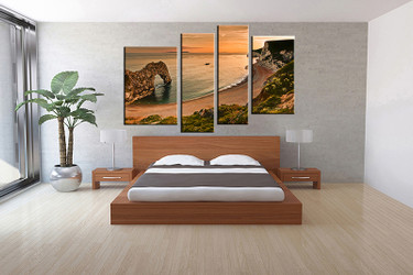 4 piece canvas wall art, orange ocean wall art, ocean multi panel canvas, ocean artwork