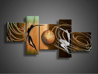 5 Piece Brown Abstract Canvas Art,Abstract Contemporary  Oil Painting,Abstract Painting