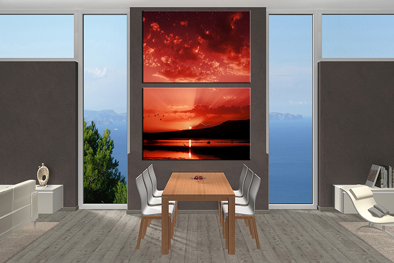 2 Piece Large Canvas Dining Room Wall Art Red Ocean Pictures Bird