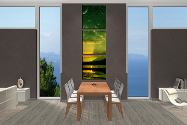 3 piece large canvas, dining room wall art, green ocean pictures, bird ocean canvas photography