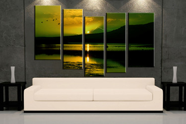 5 piece wall art, green ocean multi panel art, ocean artwork, bird ocean huge large pictures, living room photo canvas