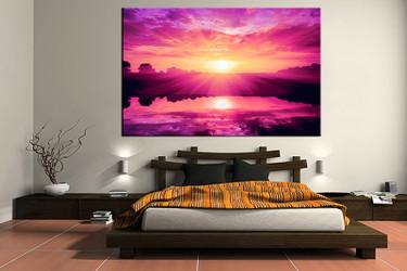 1 piece canvas wall art, ocean wall art, purple ocean multi panel canvas, scenery artwork