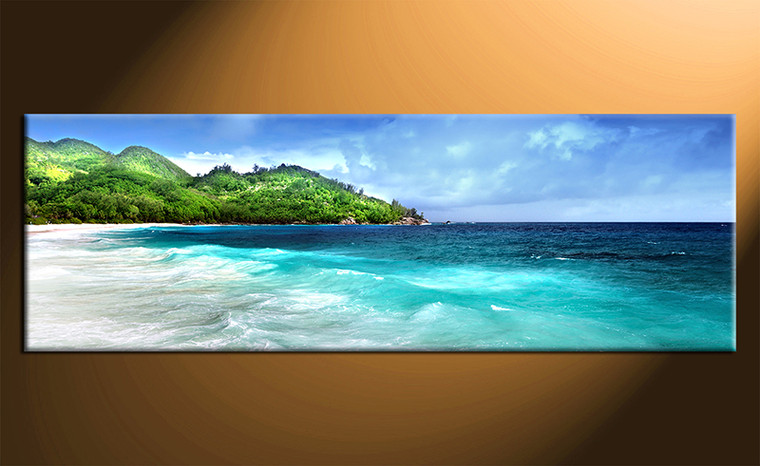 1 piece canvas photography, home decor art, blue ocean huge pictures, mountain wall decor
