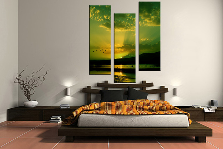 bedroom decor,3 piece canvas wall art, green ocean multi panel canvas, bird ocean canvas prints, ocean canvas photography