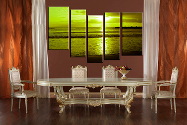 5 piece large canvas, dining room artwork, sunset canvas wall art, ocean group canvas, ocean photo canvas