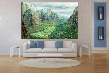living room art, 1 piece canvas wall art, landscape decor, landscape artwork, green landscape large canvas