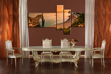 5 piece multi panel canvas, dining room canvas photography, orange ocean wall art, ocean artwork