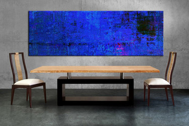 1 piece large canvas, dining room canvas wall art, abstract blue artwork, abstract huge pictures, abstract art