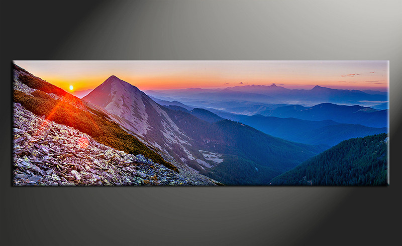 1 Piece Panoramic Blue Mountain Landscape Canvas Photography