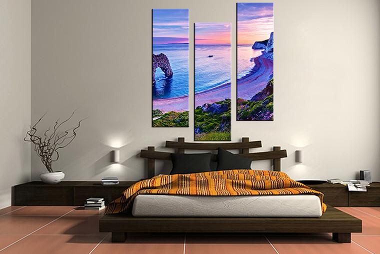 3 piece canvas art print, bedroom art, blue ocean multi panel art, ocean huge pictures