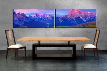 2 piece canvas wall art, landscape canvas print, blue landscape art, dining room canvas photography