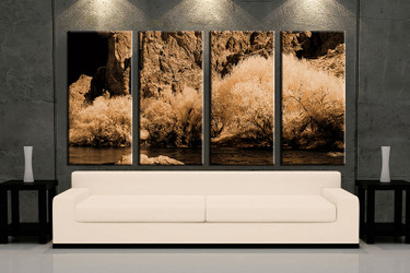 4 piece huge pictures, living room multi panel canvas, landscape brown canvas art prints, landscape artwork, landscape decor