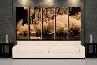 5 piece huge pictures, living room multi panel canvas, brown landscape canvas art prints, landscape artwork, landscape decor