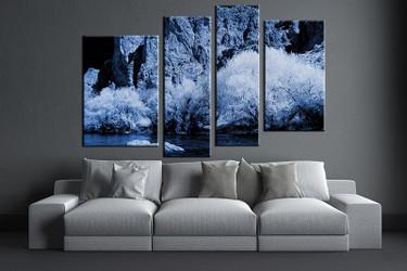 4 piece large pictures, living room multi panel art, blue landscape photo canvas, landscape artwork