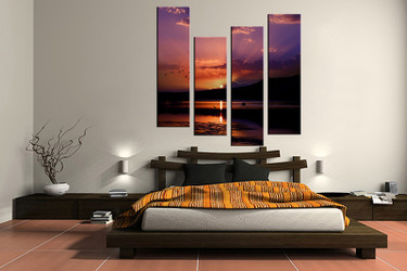 4 piece canvas wall art, bedroom ocean artwork, ocean pictures, sunrise canvas print, ocean artwork