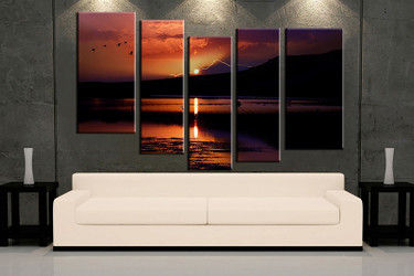 5 piece wall art, orange ocean multi panel art, ocean artwork, mountain huge large pictures, living room photo canvas