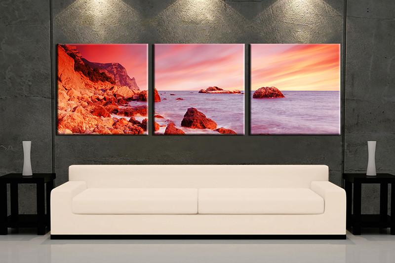 3 Piece Ocean Mountain Red Huge Canvas Art