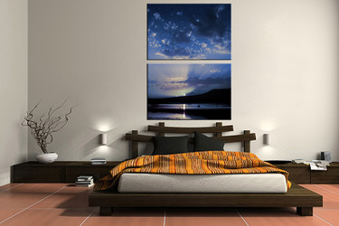 2 piece canvas wall art, bedroom ocean artwork, ocean pictures, blue canvas print, ocean artwork