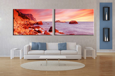 2 piece large pictures, living room multi panel art, ocean photo canvas, ocean artwork,home decor