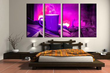 4 piece canvas wall art, bedroom art print, kitchen large canvas, kitchen multi panel canvas