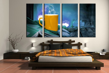 4 piece canvas wall art, bedroom art print, kitchen large canvas, kitchen multi panel canvas,living room art