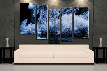 living room wall art, 5 piece wall art, landscape multi panel art, blue landscape large pictures, landscape photo canvas