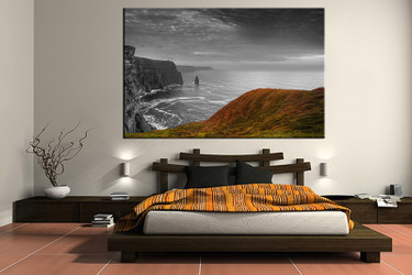 bedroom wall art, 1 piece multi panel art, landscape wall art, landscape grey artwork, landscape artwork