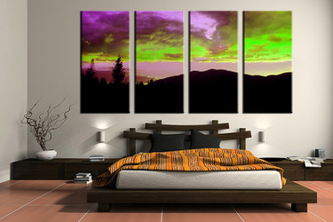 4 piece canvas wall art, landscape wall art, colorful landscape multi panel canvas, landscape artwork