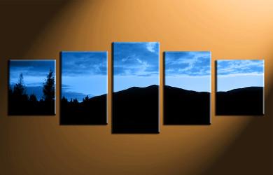 5 piece canvas photography, home decor art, landscape blue huge pictures, landscape wall decor