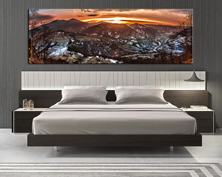1 piece canvas wall art, bedroom art print, landscape orange large canvas, landscape large pictures