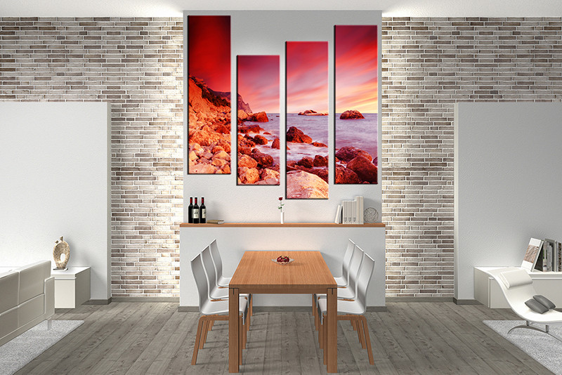 Dining Room Decor 4 Piece Wall Art Ocean Pictures Red