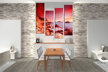 dining room decor, 4 piece wall art, ocean pictures, red ocean wall decor, ocean canvas print