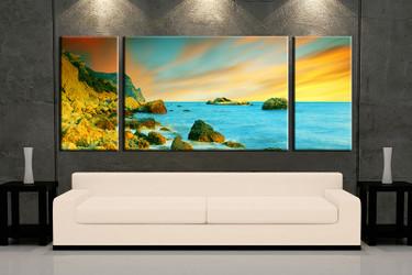 3 piece wall art, multi panel art, ocean large canvas, ocean huge pictures, living room photo canvas