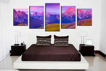 bedroom decor, 5 piece wall art, blue landscape pictures, landscape art, landscape large pictures, landscape artwork