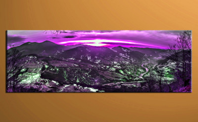 1 piece canvas wall art, purple landscape pictures, home decor, landscape wall art