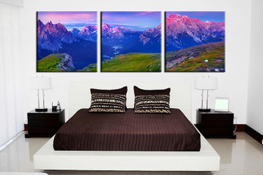 3 piece canvas wall art, landscape orange wall art, landscape multi panel canvas, landscape panoramic artwork