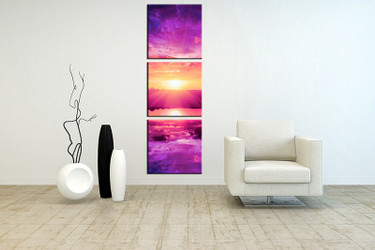 3 piece wall art, living room art, purple ocean multi panel art, ocean canvas print, ocean huge pictures