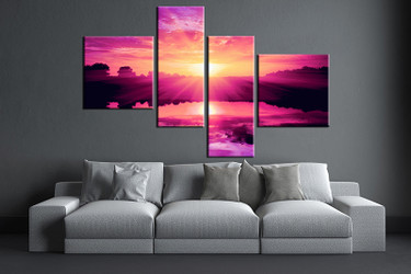 4 piece large pictures, living room multi panel art,ocean photo canvas, ocean artwork