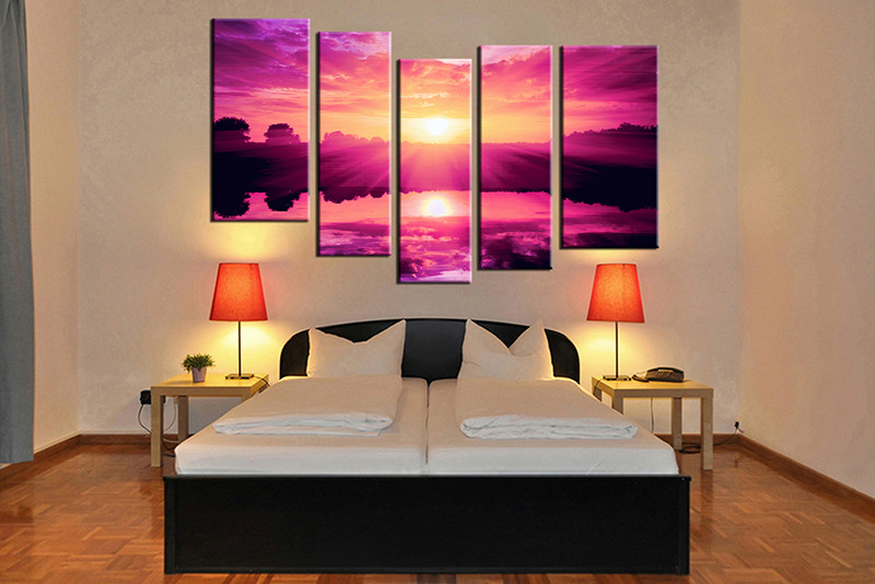 5 Piece Purple Canvas Ocean Wall Art Ocean Canvas Art Beach Canvas Art