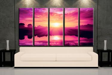 5 piece wall art, multi panel art, ocean large canvas, ocean huge pictures, living room photo canvas