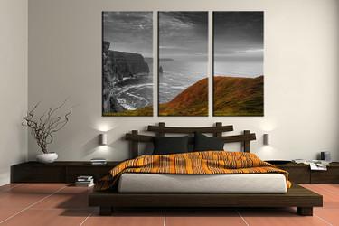 3 piece canvas wall art, bedroom huge canvas art, grey landscape large pictures, landscape multi panel canvas