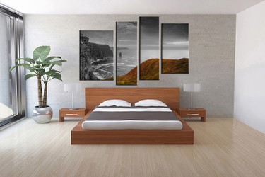 bedroom decor, 4 piece wall art, grey ocean pictures, landscape art, ocean large pictures, ocean artwork