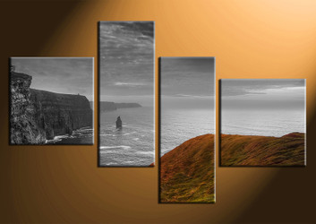 4 piece canvas photography, home decor art, grey ocean huge pictures, landscape wall decor