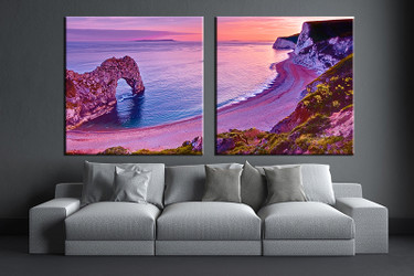 2 piece wall art, living room art, purple ocean multi panel art, ocean canvas print, ocean huge pictures