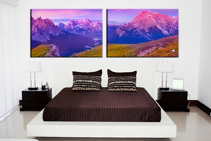 40 Piece Purple Mountain Landscape Canvas Huge Picture Enchanting Bedroom Canvas Prints