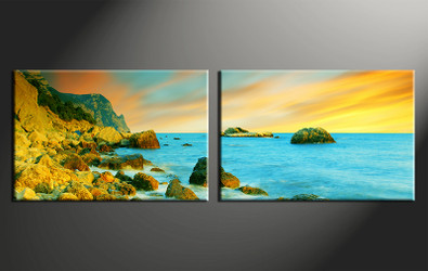 2 piece canvas wall art, home decor art, ocean canvas art print, ocean pictures, yellow huge pictures