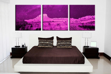 3 piece huge canvas art, landscape wall art, purple landscape canvas print, bedroom artwork