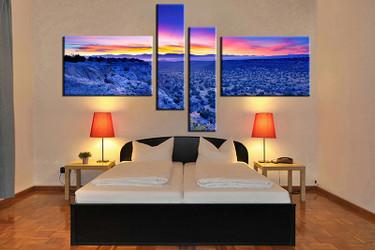 4 piece canvas wall art, landscape wall art, blue landscape multi panel canvas, landscape artwork