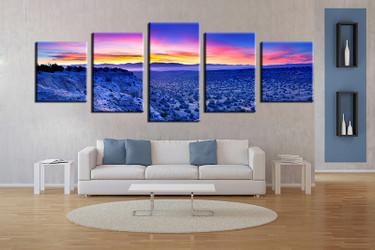 living room wall art, 5 piece wall art, landscape blue multi panel art, landscape large pictures, landscape photo canvas
